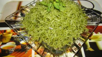 Rice with Spinach (Zamarud Palau) Recipe